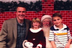 Ralph Flick with Santa and Kids